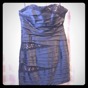 Bebe Black Strapless Dress with lace accents